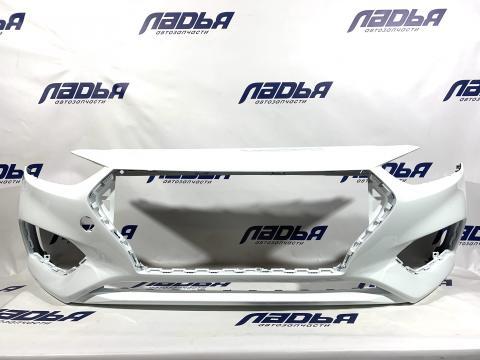 Бампер Hyundai Solaris(17-) передний Белый PGU купить в Санкт-Петербурге цена